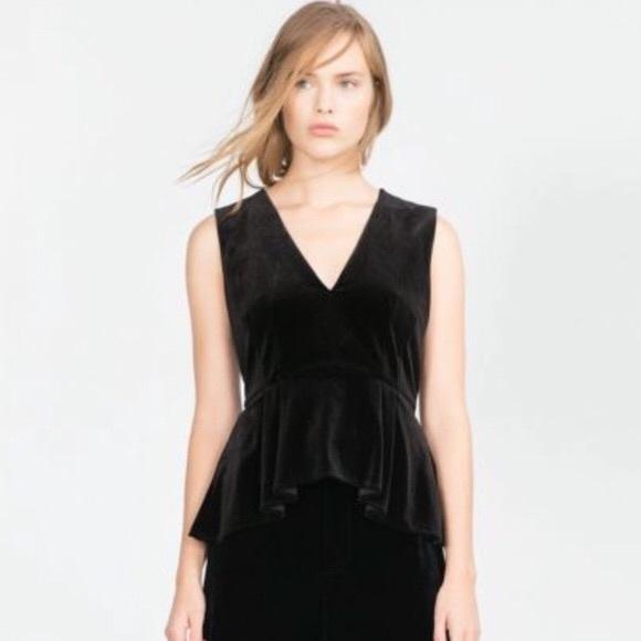 80a2abb959107d Zara Black Peplum Velvet Sleeveless Top V Neck
